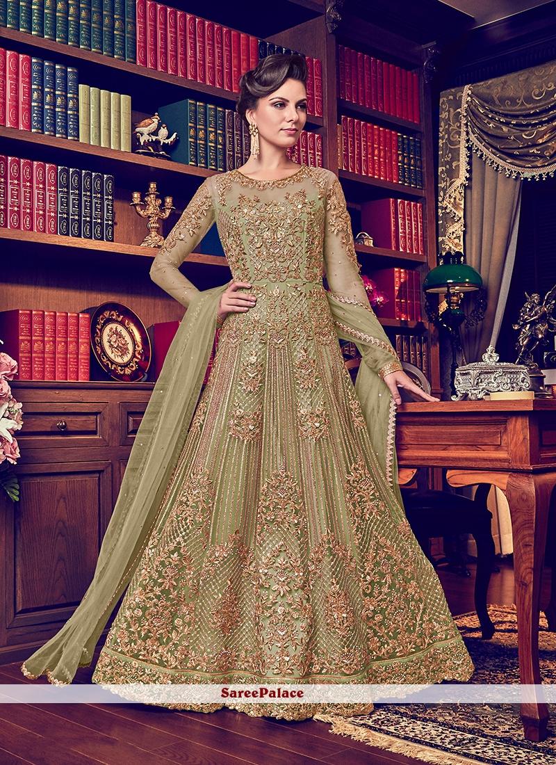 Net Embroidered Anarkali Salwar Suit in Green