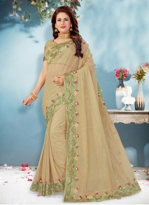 Net Embroidered Beige Classic Saree