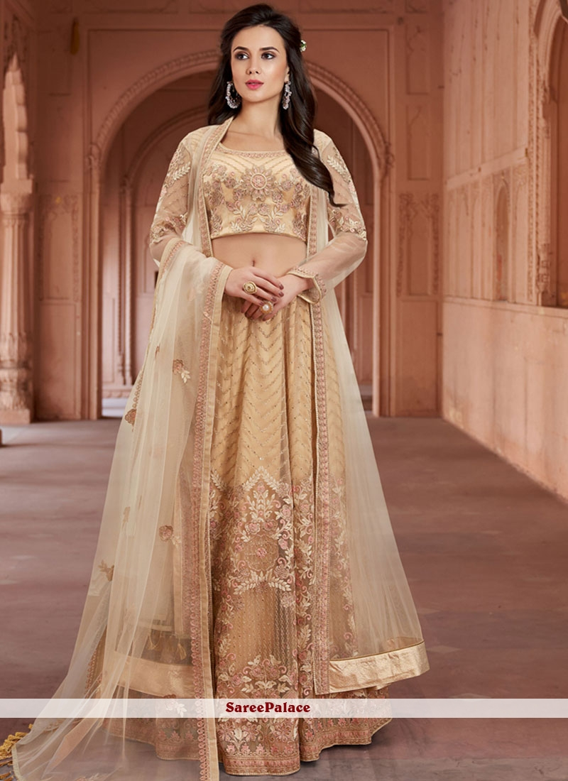 Net Embroidered Beige Lehenga Choli