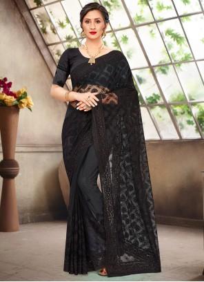 Net Embroidered Black Classic Saree