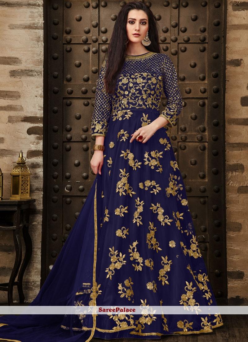 Net Embroidered Blue Anarkali Salwar Suit