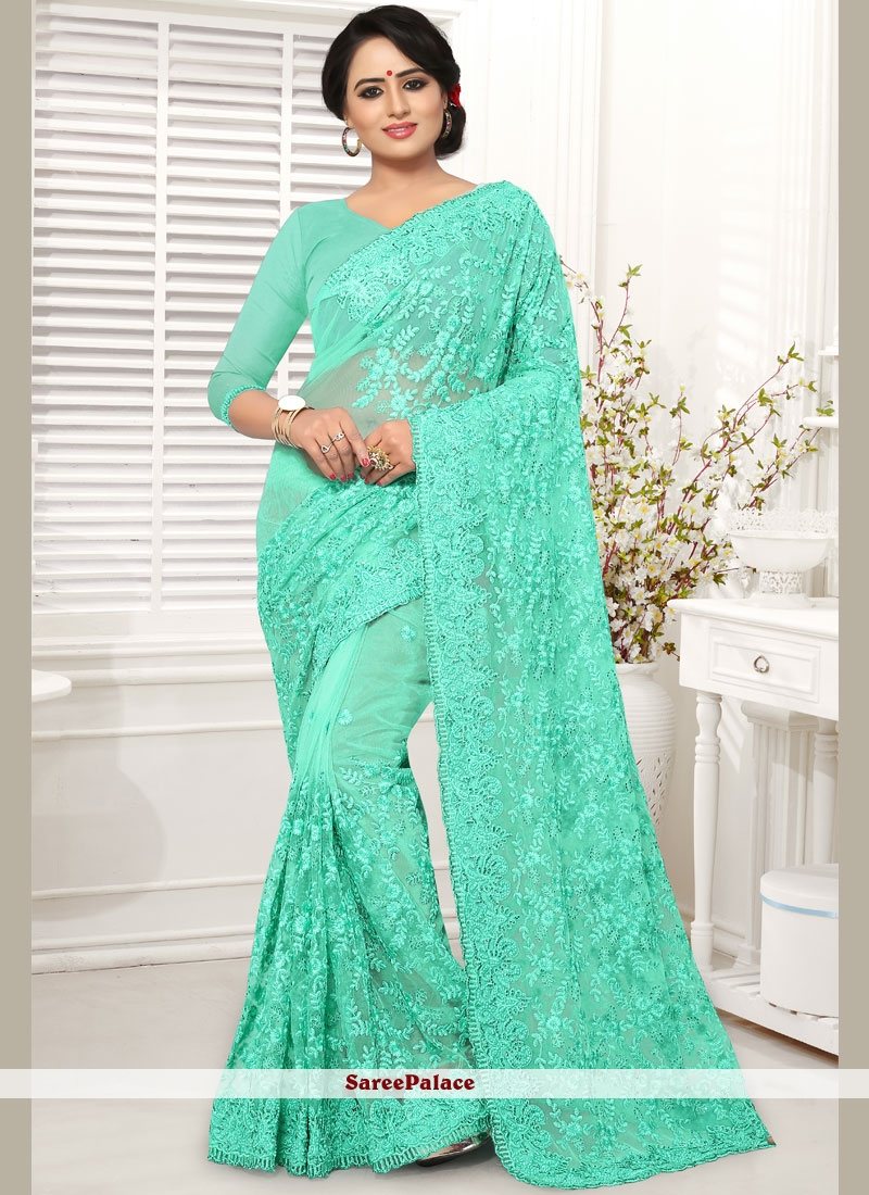 Net Embroidered Blue Classic Saree