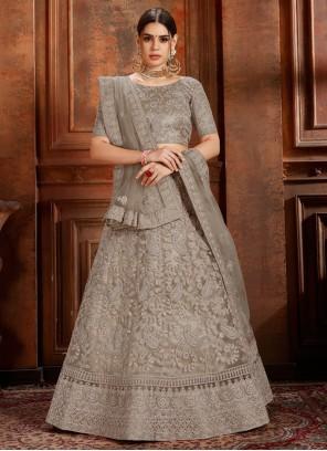 Net Embroidered Grey Designer Lehenga Choli