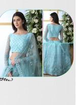 Net Embroidered Blue Designer Lehenga Choli