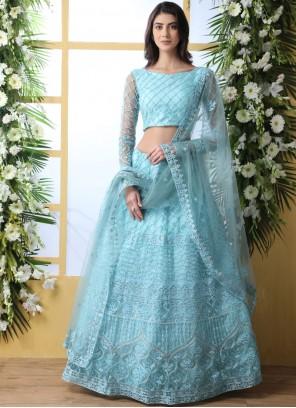 Net Embroidered Blue Lehenga Choli