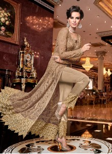 Net Embroidered Brown Pant Style Suit