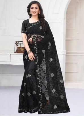 Net Embroidered Black Classic Designer Saree