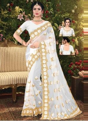 Off White Net Embroidered Designer Saree