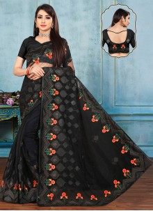 Net Embroidered Classic Designer Saree in Black