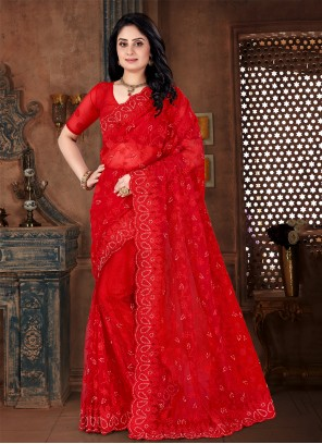 Net Embroidered Classic Designer Saree in Red