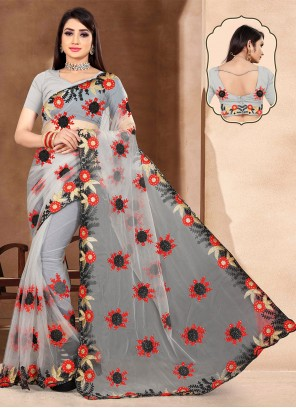 Grey Net Embroidered Classic Saree