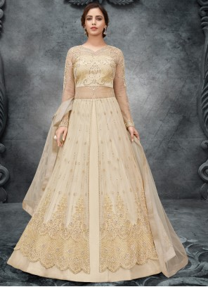 Net Embroidered Cream Long Choli Lehenga