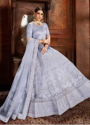 Net Embroidered Designer Lehenga Choli in Blue