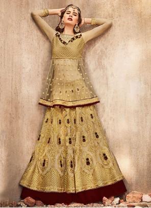 Net Embroidered Designer Lehenga Choli in Gold