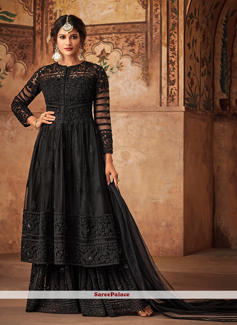 Black Net Embroidered Designer Pakistani Suit