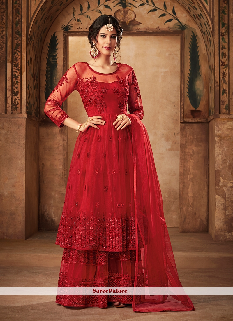 Net Embroidered Designer Pakistani Suit in Red