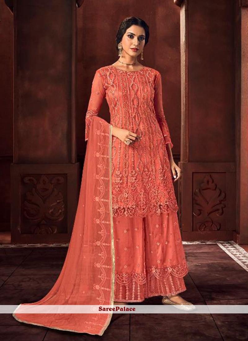 Orange Net Embroidered Designer Palazzo Suit