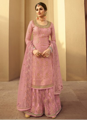 Net Embroidered Designer Palazzo Suit in Pink