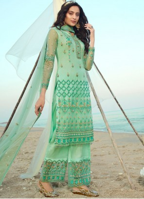 Net Embroidered Designer Palazzo Suit in Sea Green