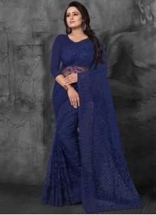 Net Embroidered Designer Saree in Blue