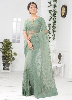 Net Embroidered Designer Saree in Green