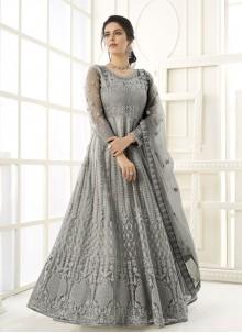 Grey Net Embroidered Floor Length Anarkali Suit
