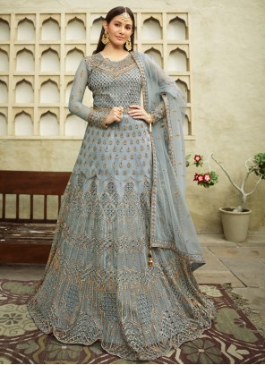 Net Embroidered Floor Length Anarkali Suit in Blue