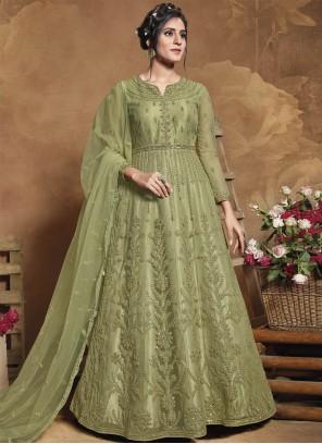 Net Embroidered Green Floor Length Anarkali Suit