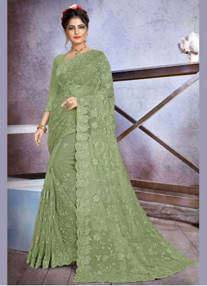 Net Embroidered Green Traditional Designer Saree