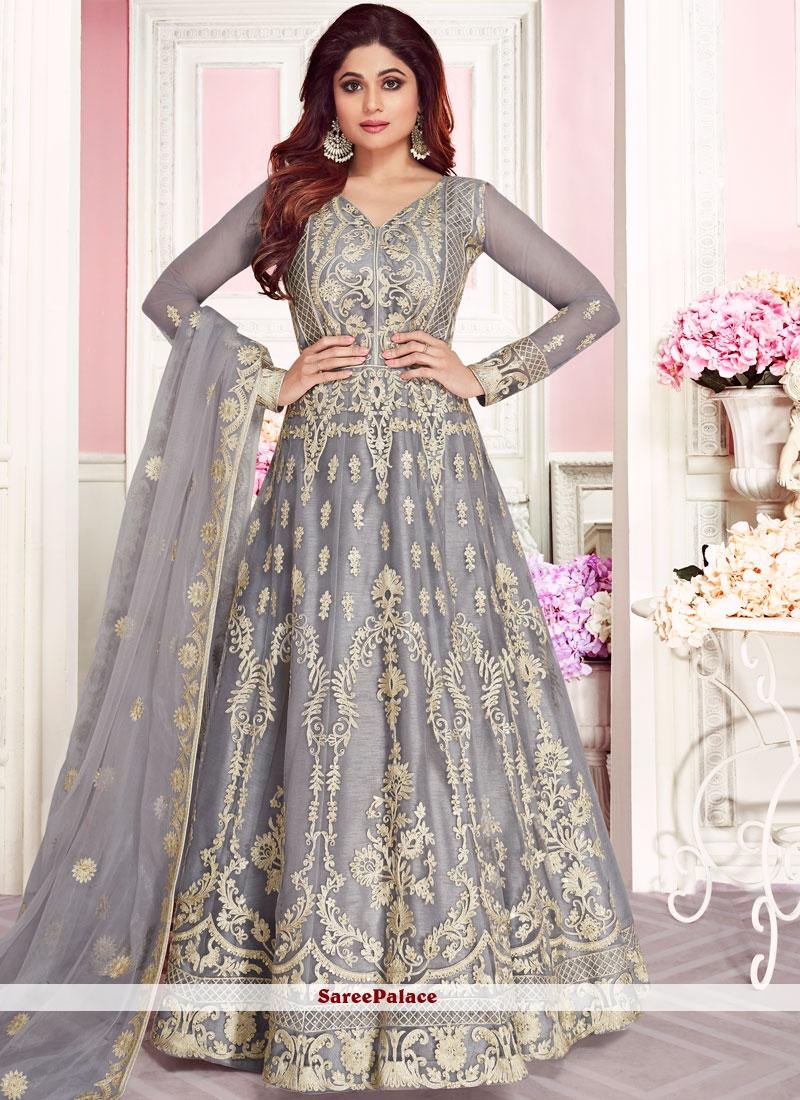 Net Embroidered Grey Anarkali Salwar Kameez
