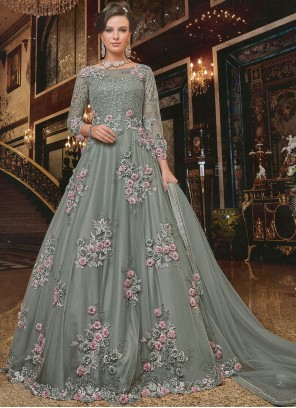 Net Embroidered Grey Anarkali Salwar Kameez