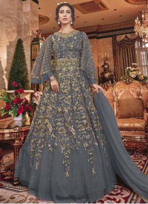 Net Embroidered Grey Designer Salwar Suit