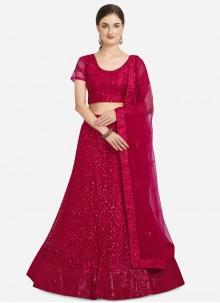 Pink Net Embroidered Lehenga Choli