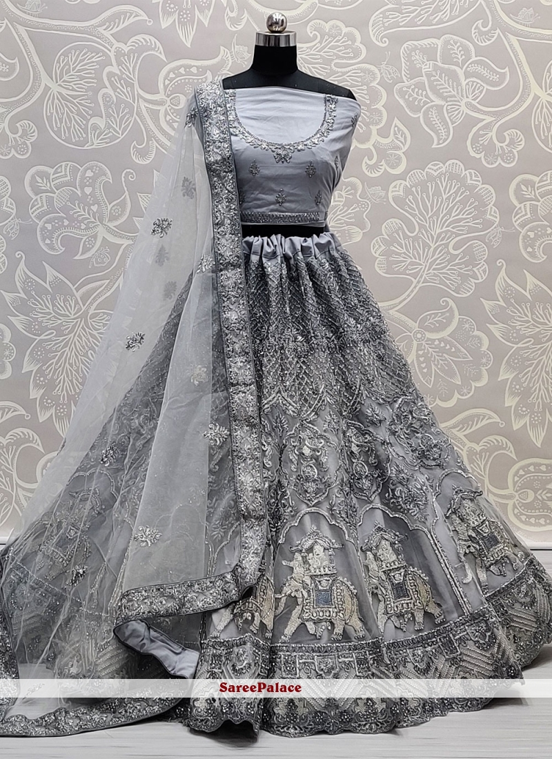 Net Embroidered Lehenga Choli in Grey