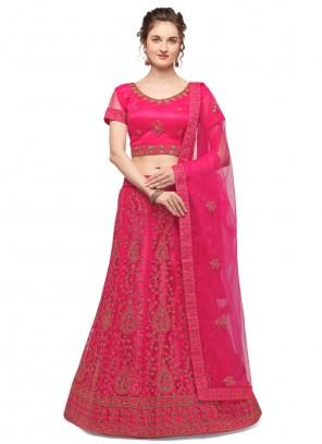 Net Embroidered Lehenga Choli in Pink