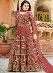 Net Embroidered Maroon Designer Lehenga Choli