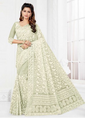 Net Embroidered Off White Trendy Saree