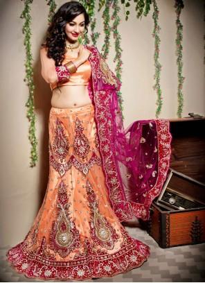Net Embroidered Orange Designer Lehenga Choli
