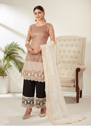 Net Embroidered Pant Style Suit in Beige
