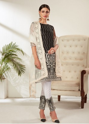 Net Embroidered Pant Style Suit in Black