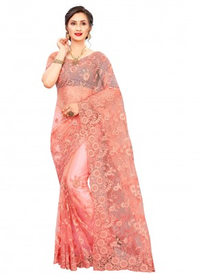 Net Embroidered Peach Classic Designer Saree