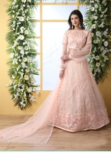 Net Embroidered Peach Designer Lehenga Choli