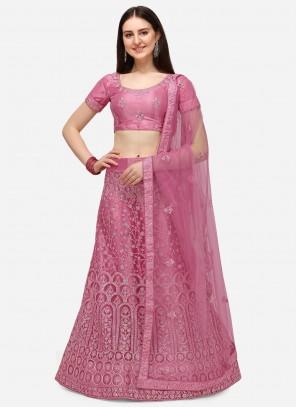 Net Embroidered Pink A Line Lehenga Choli