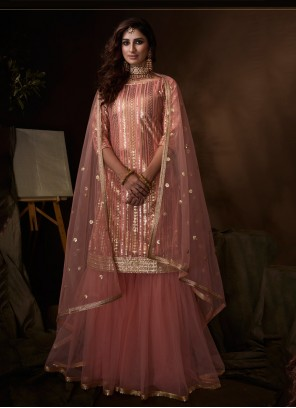 Net Embroidered Pink Designer Palazzo Salwar Kameez
