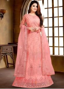 Net Embroidered Pink Salwar Suit