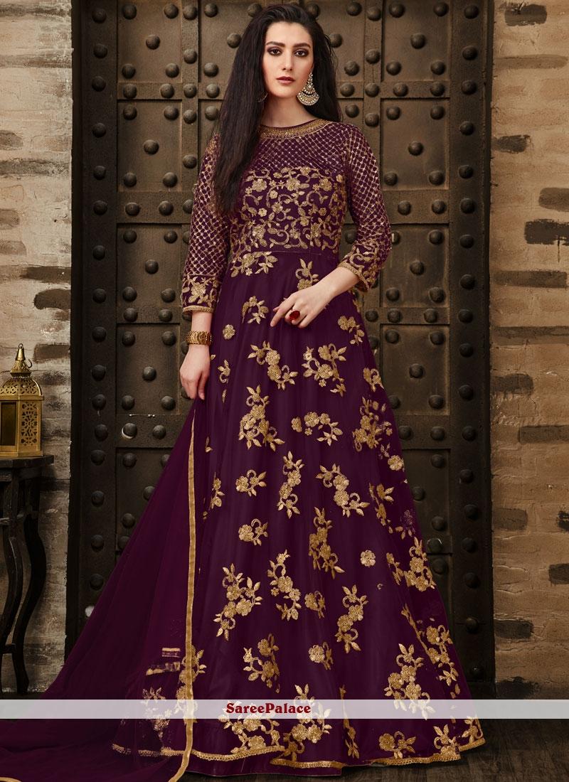 Net Embroidered Purple Anarkali Salwar Kameez