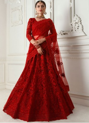 Net Embroidered Red Designer A Line Lehenga Choli