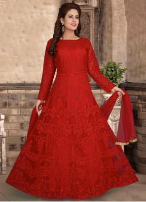 Net Embroidered Red Readymade Anarkali Suit
