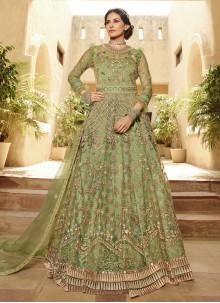 Net Embroidered Salwar Kameez in Green
