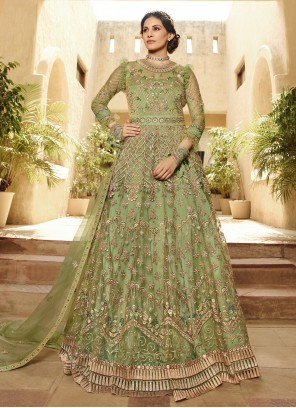 Net Embroidered Salwar Kameez in Green